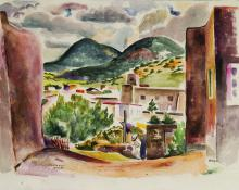 "Josef Bakos, ""Cristo Rey, Santa Fe"", watercolor on paper"