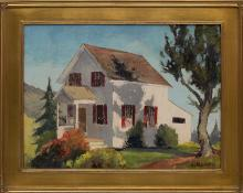 "Jon Blanchette, ""Untitled (Farmhouse, California)"", oil, circa 1955 for sale purchase consign auction denver Colorado art gallery museum"