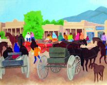 "Barbara Latham, ""Taos Plaza"", oil, c. 1960"