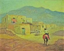 """Raphael Lillywhite, """"Taos Pueblo, Taos New Mexico"""", oil, c. 1940"""