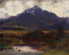 "Charles Partridge Adams, ""Tornado Peak, Ten Mile Range - Leadville District, from near Dillon, Colo."", oil on canvas, c. 1905 painting for sale"