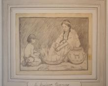"Eanger Irving Couse, ""Untitled (Basket Makers)"", graphite on paper, c. 1920 E.I. Couse, ei couse"