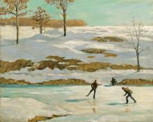 "Dean Babcock, ""Untitled (Ice Skaters, Grand Lake, Colorado)"", oil on canvas, 1908 painting for sale"