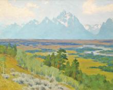"Charles Partridge Adams, ""Teton Mountains from Jackson's Hole, Wyoming"", oil on canvas, c. 1925 painting for sale"