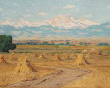 "Charles Partridge Adams, ""Untitled (Haystacks, Longs Peak from Near Longmont, Colorado)"", oil, c. 1900 painting for sale"