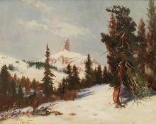 "Raphael Lillywhite, ""Untitled (Winter, Colorado)"", oil, c. 1935"