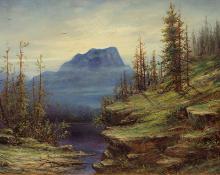 "Charles Stewart Stobie, ""Untitled (Mountain Landscape)"", oil, 1897"