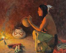 """Eanger Irving CEanger Irving Couse, """"Ute Water Bottle - Wal-si-ee (Eagle Down)"""", oil, 1904ouse, """"Ute Water Bottle - Wal-si-ee (Eagle Down)"""", oil, 1904"""