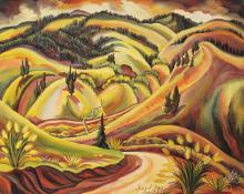 "Eve Drewelowe, ""Sunset Slopes"", oil on canvas, 1949 Eve van Ek Drewelowe"