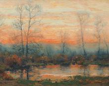 "Charles Partridge Adams, ""Fall Sunset (Colorado)"", oil, c. 1905 painting for sale"