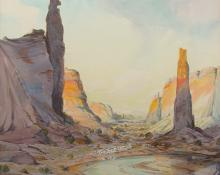 "Carl Oscar Borg, ""Untitled (Spider Rock, Canyon de Chelly, Arizona)"", watercolor on paper, c. 1925"