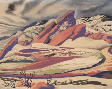"Vance Hall Kirkland, ""Red Rocks in April"", watercolor on paper, c. 1935"