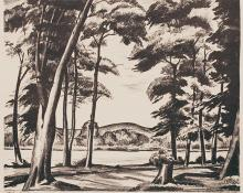 "Alfred James Wands, ""The Lake 66/100"", lithograph, c. 1940"