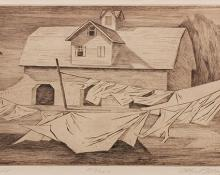 "Ethel Magafan, ""Clothesline 213/250"", etching, 1947"