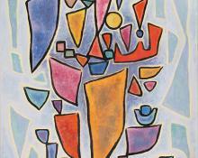 "Emil James Bisttram, ""Still Life"", oil, 1957"