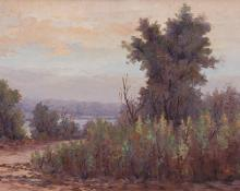 "Maude Leach, ""The Banks of the Platte (Colorado)"", oil, c. 1900"
