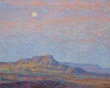 "Sven Birger Sandzen, ""Evening, Western Landscape"", oil, c. 1910"