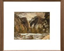 "Pansy Cornelia Stockton, ""Good Fishin' (Colorado)"", mixed media, circa 1930 painting fine art for sale purchase buy sell auction consign denver colorado art gallery museum"