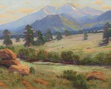 "Charles Partridge Adams, ""Untitled (Longs Peak from near Estes Park, Colorado)"", oil, c. 1910"