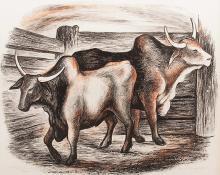 "Ethel Magafan, ""Brahma Bulls"", lithograph, 1938"