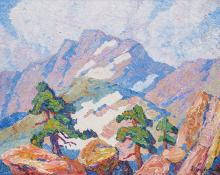 "Sven Birger Sandzen, ""In the Heart of the Rocky Mountains, Rocky Mountain National Park, Colorado"", oil, 1920"