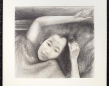 """Ross Eugene Braught, """"Portrait of child"""", graphite, 1963 for sale purchase consign auction denver Colorado art gallery museum"""