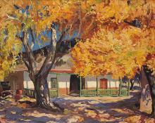 "Fremont Ellis, ""Old Ranch House (Rancho de San Sebastian)"", oil, c. 1930"