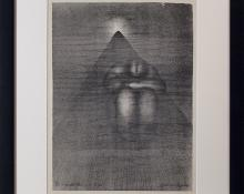 """Arthur George Murphy, """"On a Freight Train in a Tunnel"""", lithograph, c. 1940 frame"""