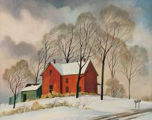 "William Sanderson, ""Going to Snow"", oil, 1971"