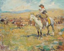 "Frank B. Hoffman, ""Self Portrait On Horseback"", oil on canvas"