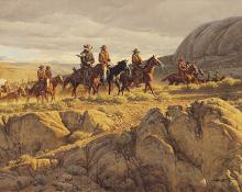 "Frank McCarthy, ""Comin' in for the Roundup"", oil, 1972"
