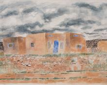 "Ward Lockwood, ""Untitled (Adobe)"", watercolor on paper, 1940"