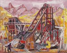 "Frank Train, ""Victor Mine"", oil, c. 1950"