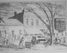 "Ward Lockwood, ""The Plaza Taos"", etching, 1928 graphic print litho"