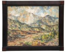 """Charles Ragland Bunnell, """"Untitled (Pike's Peak, Colorado)"""", oil, 1961 painting for sale purchase consign auction denver Colorado art gallery museum"""