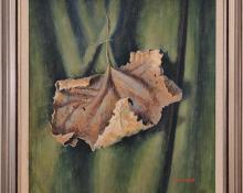 "James Duard Marshall, ""Curling Leaf (Portrait on verso)"", tempera, c. 1940 for sale purchase consign auction denver Colorado art gallery museum"