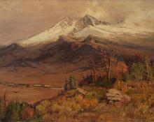 "Charles Partridge Adams, ""Untitled (Longs Peak from Moraine Park, Colorado)"", oil, 1891 painting for sale"