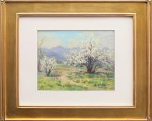 "Elsie Haddon Haynes, ""Plum Blossom, Shadow Valley Gardens (Wheat Ridge, Colorado)"", pastel, c. 1940 for sale purchase consign auction denver Colorado art gallery museum"