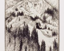 "Gene (Alice Geneva) Kloss, ""Mine on Red Mountain (Colorado); Edition of 50"", etching, 1967"