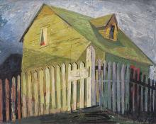 "Jenne Magafan, ""White Picket Fence"", gouache on paper, 1939"
