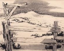 "Jenne Magafan, ""Prairie Fence"", ink on paper, 1939"