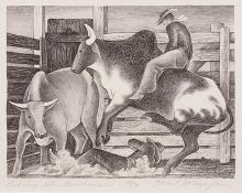 "Ethel Magafan, ""Riding the Brahmas, 48/70"", lithograph, c. 1938"