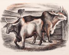 "Ethel Magafan, ""Brahma Bulls, 5/10"", lithograph, 1938"