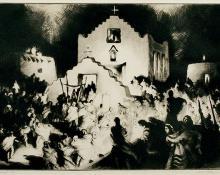 "Gene (Alice Geneva) Kloss, ""Processional, Taos"", etching, 1948"
