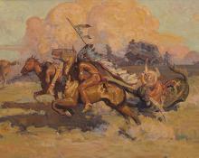 """Allen Tupper True, """"Untitled (The Attack)"""", oil, 1911"""