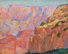 "Nellie Augusta Knopf, ""Hopi Point, Grand Canyon, Arizona"", oil, c. 1925"