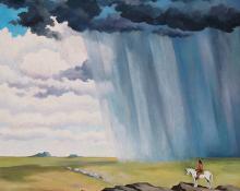 """William Sanderson, """"Watching"""", oil, 1980"""