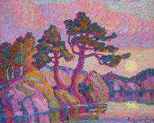 "Sven Birger Sandzen, ""Mountain Lake at Moonrise, Rocky Mountain National Park, Colo."", oil, 1928"