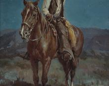 """Olaf Carl Wieghorst, """"Cowman"""", oil, c. 1927"""