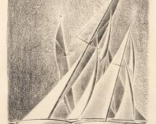 """Arnold H. Ronnebeck, """"Yacht Races (Grand Lake, Colorado); edition of 25"""", lithograph, 1933"""